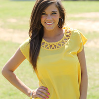 Nice Neckline Top, yellow