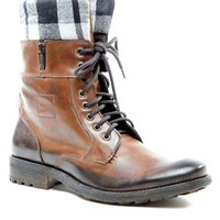 Bronx Leather Scuffed Effect Lace-Up Boots