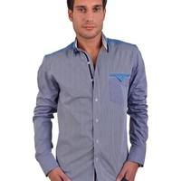 RNT23 100% Cotton Contrasting Material Striped Shirt Made In Europe