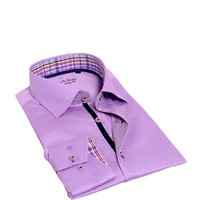 LeVinas Plaid Inlay Cotton Button-Up Shirt