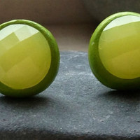 Lemon and Lime Stud Earrings Faceted Yellow Rhinestones and Lime Green Stud Earrings