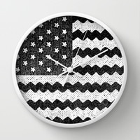 Black Zig Zag Flag Wall Clock by Nick Nelson