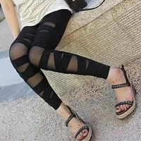 Black Bandage Stripes Patchwork Cotton Leggings Tights by dithzzappear on Sense of Fashion