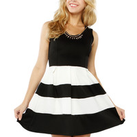 Papaya Clothing Online :: STRIPE PEPLUM DRESSY DRESS
