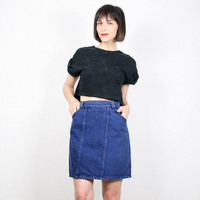 Vintage 80s Skirt Dark Denim Skirt Denim Mini Skirt High Waisted Skirt Blue Jean Skirt Tulip Skirt 1980s New Wave Punk Rocker Skirt S Small