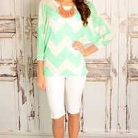 Mint Chevron Knit Top