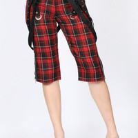 Tripp NYC - Womens Strappy Capri In Black / Red Plaid