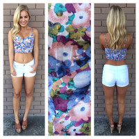 Floral Bustier Button Up Crop Tank