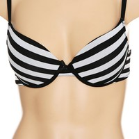 Black And White Striped Bra