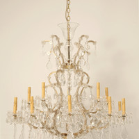 Vintage Venetian Hand Cut Crystal 16 Light Chandelier