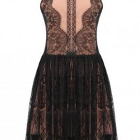 Black Lace Sleeveless Skater Dress