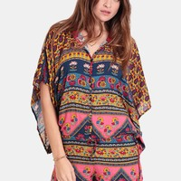 Lazy Daze Red Ethnic Print Romper By Novella Royale