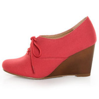 Chelsea Crew Sari Coral Red Canvas Oxford Wedges - $65.00