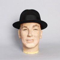 50s Black Fur Felt FEDORA / Black CAVANAGH HAT, 7 1/4