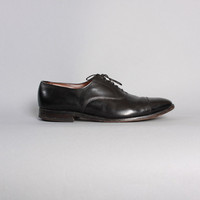 MEN'S BLACK Leather OXFORDS / Allen Edmonds Park Avenue Cap Toe Shoes, 13 D