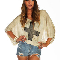 Furor Moda - Beige Cross Top