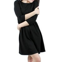 Black Elbow Sleeve Flare Dress