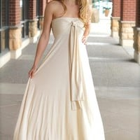 Cream Sleeveless Maxi Dress w/ Changeable Straps