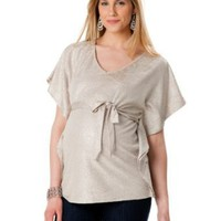 Motherhood Maternity: Loved By Heidi Klum Short Sleeve V-neck Sash Belt Maternity T Shirt
