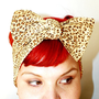 Bow hair tie Leopard Print Light Brown Retro by OhHoneyHush