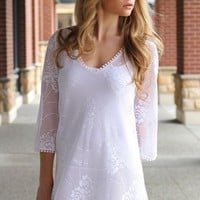 White Floral Lace Shift Mini Dress w/ 3/4 Sleeves