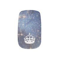 Starry Space Crown Blue Nails