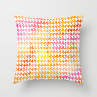 Houndstooth orange watercolor Throw Pillow by CAPow!