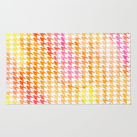 Houndstooth orange watercolor Area & Throw Rug by CAPow!