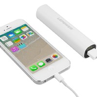 LEPOWER 2600 mAh Colorful Mini USB Portable Power Bank Charger / Backup Mobile External Battery Charger for iPhone 5 5S 5C and other USB-charged devices (Apple Adapters-30 pin and Lightning, NOT Included) (White)