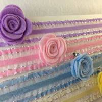 Set of (4) Mini Easter Felt Rosette Flower Hair Clips with Matching Ruffle Headbands