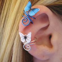 Butterfly Ear Cuff Wire Wrap CUSTOM COLOR by SpotLightJewelry