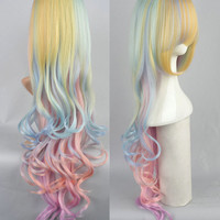 Colorful Rainbow Wig, Gradient, Rainbow Ombre Wig, Cosplay, Anime Wig, Long Wavy Wig with Bangs