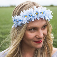 Large Blue Daisy Glitter Flower Crown