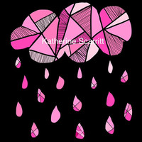 Wall Decal - Pink Cloud And Rain Drops - Geometric - Graphic - Environmentally Friendly - Fabric - Moveable
