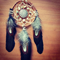 Tribal Spiritual Dream Catcher with Grass Turquoise // Hippie Boho Decor