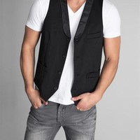 Parasuco Solid Color Front & Striped Back V-Neck Vest - 			        	Festival Fashion Shop