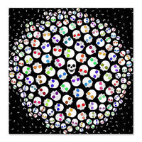 Black Shower Curtain - Skulls In Space - Ornaart Design