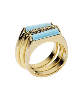Michael Kors Turquoise Stack Ring with Pave Detail - Michael Kors