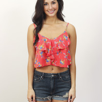 Floral Ruffle Crop Top » Vertage Clothing