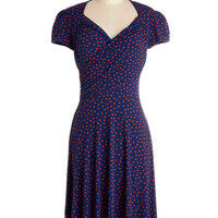 Nautical Mid-length Cap Sleeves A-line Kelly's Vivid in the Moment Dress in Confetti