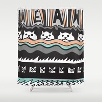 MEAW Shower Curtain by Vasare Nar