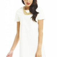 Cream Short Sleeve Faux Leather Shift Mini Dress