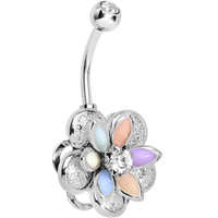 Multi Clear Gem Bursting Blossom Flower Belly Ring | Body Candy Body Jewelry