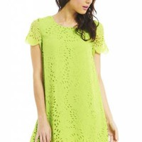 Lime Lazer Cut Swing Dress
