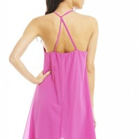 Pink Cage Back Swing Dress