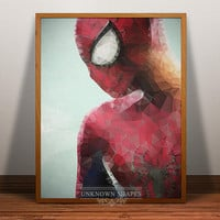 Spiderman Print, Superhero Poster, Spiderman wall art, Geometric heroes art, Comic Wall Art, Cartoon, spiderman poster