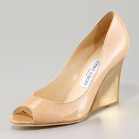 Jimmy Choo Baxen Peep-Toe Wedge Pump - Neiman Marcus