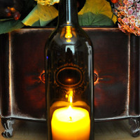 Wine Bottle Hurricane Candle Lamp Father's Day Gift by TipsyGLOWs