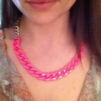 Hot Pink and Silver Chain Short Statement Necklace by ClaireFlair