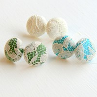 White Lace Fabric Stud Earrings - Set Of Three | Luulla